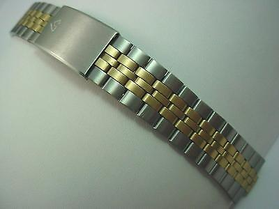 Lorus Mens Center Link Attachment 7.5mm Deployment Vintage Watch Band Two Tone