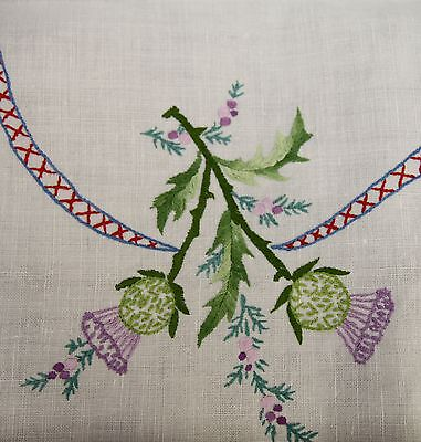 """VINTAGE HAND EMBROIDERED TABLECLOTH THISTLES 50"""" X 78"""""""