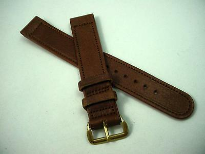 "Mens Vintage Kreisler Watch Band 16mm 5/8"" Brown Calfskin Gold Tone Buckle NOS"