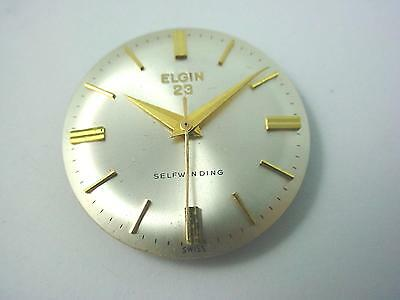 Selfwinding Elgin 23 Vintage Pearl Watch Dial 27.5mm Hands Gold Stick Markers