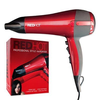 Red Hot Professional Style Hair Dryer 2200W Nozzle Concentrator Hairdryer Blower