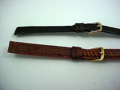 2 Band Lot of Long Lizard Honey Brown 11mm Ladies Vintage Watch Bands Kreisler • £19.54