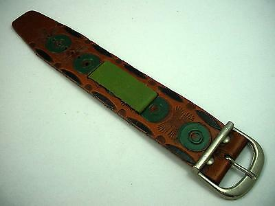 Leather Wrist Band Mens Vintage 17mm Tan Brown Green Silver Tone Buckle Short