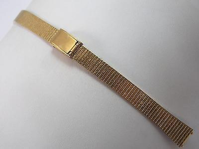 "10mm 3/8"" Ladies Vintage Watch Band Sliding clasp Gold Tone Stainless Steel NOS"