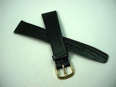 "19mm 3/4"" Mens Vintage Black Lizard Gold Tone Buckle Watch Band New Old Stock"