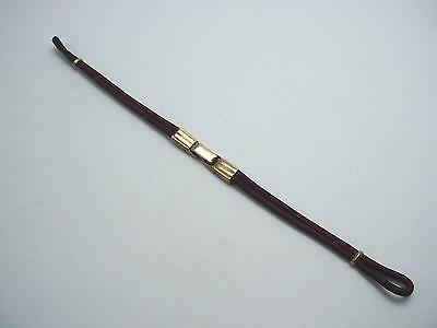Vintage Ladies Loop End Watch Band Gold Tone and Burgandy Cord Butterfly Clasp