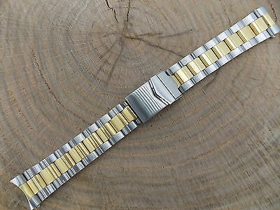 Hadley Roma Watch Band Vintage Mens Locking Deployment Two Tone 20mm New Old Stk