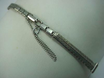 "8mm-10mm 3/8"" Ladies Watch Band Vintage Bowles Stainless Steel Butterfly Clasp"