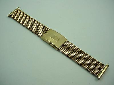 Gold Tone Evinger Mens Vintage Watch Band 23mm Full Expansion New Old Stock
