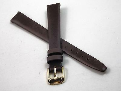 Ladies Vintage Brown Calfskin 12mm Watch Band Gold Tone Buckle Speidel NOS