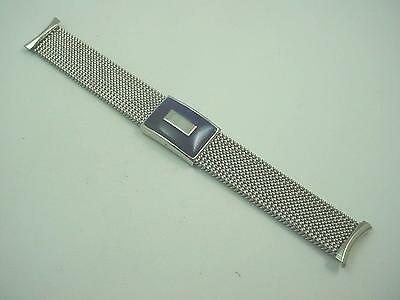 "Stainless Blue Fals Deplment Expansion Mens 19mm 3/4"" Vintage Evinger Watch Band"