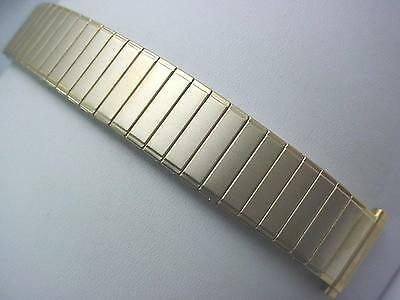 "Gold Tone Mens Vintage Straight Expansion Speidel Watch Band 16mm-19mm 5/8""-3/4"""