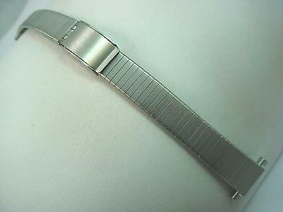 "Stainless Bulova Ladies 11mm-16mm 1/2""-5/8"" Vintage Watch Band Sliding Clasp NOS"
