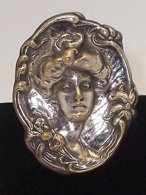 Art Deco/Nouveau Vintage Lady Image Pin Brooch Gibson Girl Style