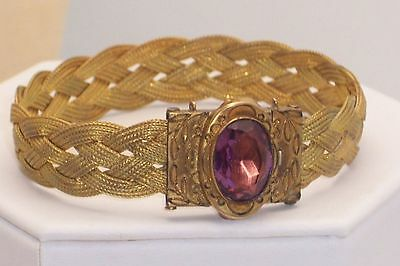 Victorian 14K Gold Filled Braided Wire Bracelet W/ Amethyst Faceted Stone