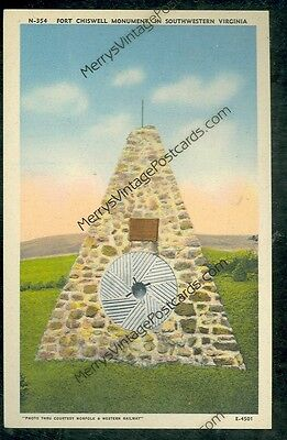 Fort Chiswell Monument, Virginia (not mailed vintage linen post card(MY665)