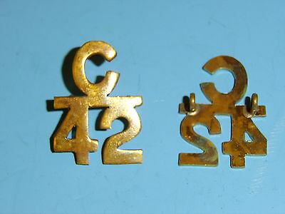 a0134p WW 1 Canadian Collar Emblems for 42nd Highlanders C42 pair C10A13