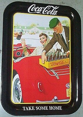 """COCA COLA COKE METAL TRAY """"TAKE SOME HOME"""" mg CONVERTIBLE W/ tray magnet SIGN"""
