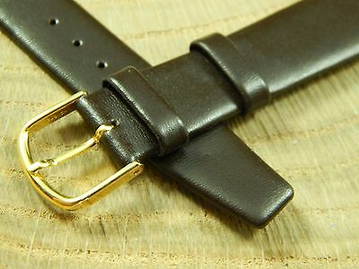 Mens Com-Fit Watch Band Vintage Brown Long 20mm Goldtone Buckle New Old Stk Calf