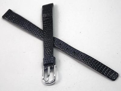 Navy Lizard Grain Ladies Watch Band Vintage Pulsar 9mm Silver Tone Buckle NOS