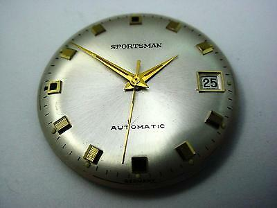 Sportsman Vintage Automatic Watch Dial Pearl 30.8mm Date Window Gold Sqr Markers