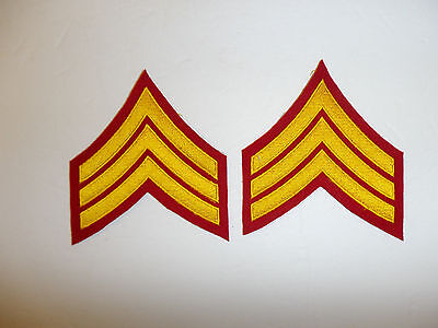 b2043p WW2  Korea USMC Dress Blue Sergeant Marine chevron Embroidered pair R6E