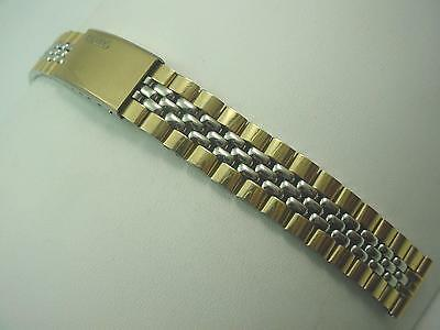 Ladies Vintage Watch Band Base Metal Two Tone Deployment Clsp 14mm Grain of Rice