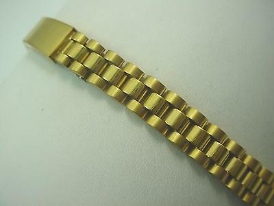 Vintage T Watch Band Ladies Deployment Clasp 12mm Gold Tone New Old Stock