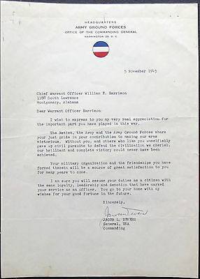 General Jacob Devers WW II Commander Europe Signed Army Ground Forces Letter