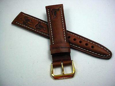 Tan Leather Equestrian Watch Band 20mm Mens T&C Sahara Vintage Gold Tone Buckle