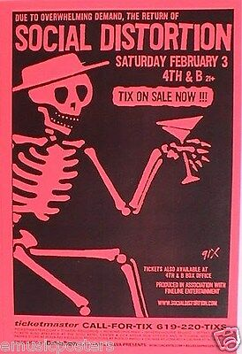 SOCIAL DISTORTION 2001 SAN DIEGO TOUR POSTER-Skeleton & Martini Glass, Mike Ness