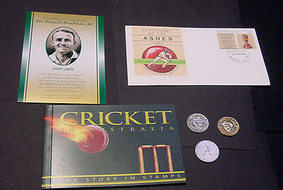 Cricket Australia The Story in Stamps, plus cricket coin & medallions.