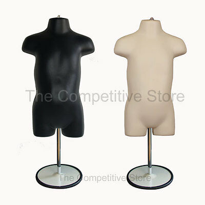 2 Black and Flesh Toddler Mannequin Forms With Metal Base 18 Mo - 4T Clothing