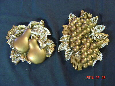 2 Vintage Miller Studio Chalkware Grape Pear Fruit 3D Gold  SILVER Wall Plaque
