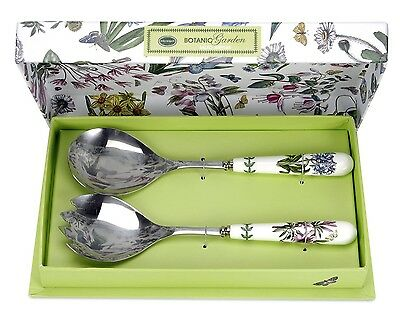 PORTMEIRION BOTANIC GARDEN SALAD SERVERS SET OF 2, NEW IN BOX, FREE SHIPPING!