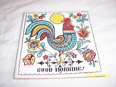 VINTAGE MADE IN JAPAN GOOD MORNING!  ROOSTER HOT PLATE TRIVETT WALL HANGING