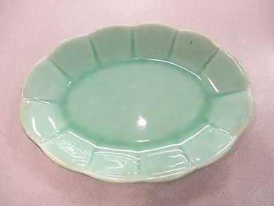 Antique Vintage 1940's W.S. George GREEN Petalware Oval Bowl Dish made in U.S.A