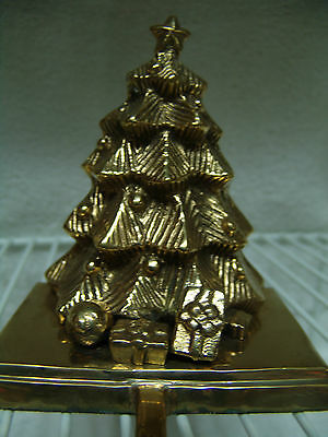 Vintage Large 3 D Brass Christmas Tree Stocking Holder Free Ship