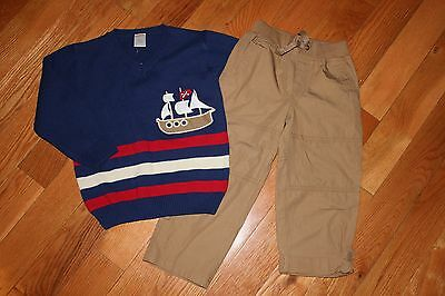 NWT Gymboree Stripes and Anchor Boy 4T Set Blue Ship Sweater Brown Roll-Up Pants