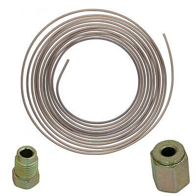"""3/16"""" x 25FT CUPRO NICKEL FUEL BRAKE PIPE 25ft  inc  20 MALE FEMALE UNION NUTS"""
