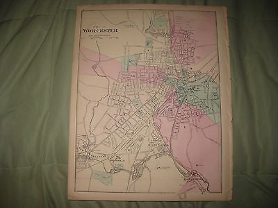 Superb Antique 1871 Worcester Springfield Massachusetts Handcolored Map Detailed