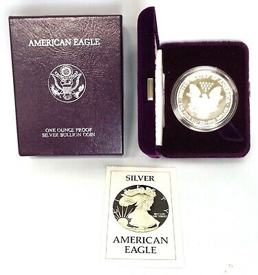 1988 US American Eagle One Troy Ounce .999 Fine Silver Round Bullion Coin OGP