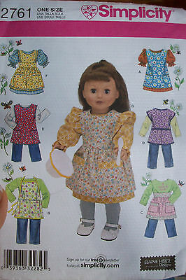 """SIMPLICITY DOLL CLOTHES PATTERN 2761 NEW FITS 18"""" DOLLS"""