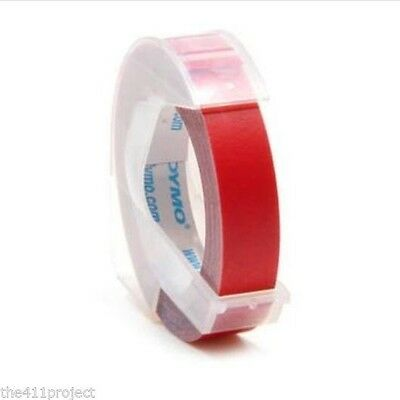 "Dymo LabelMaker Glossy RED Embossing  Refill Label Cartridges 3/8"" (9mm) #520102"