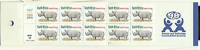 RINOCERONTI - RINOS SOUTH AFRICA 1998 Common Stamps dATED 16.01.98 booklet