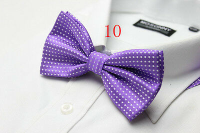 Boys Luxury 2 Layer Bright Purple with White Polka Dot Dickie Bow Tie Adjustable