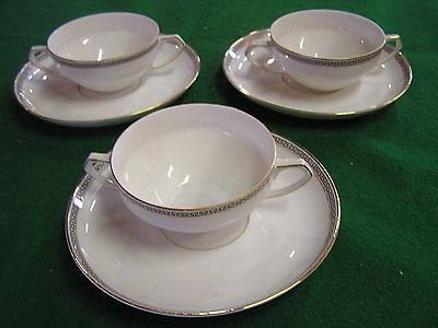 "Beautiful H & C Selb Bavaria Heinich & Co. ""Avaria"" 3 SOUP CUPS AND SAUCERS"