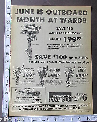 1976 Ad Montgomery Ward Store Outboard Boat Motor 6 7.5 10 15 HP w/ Prices