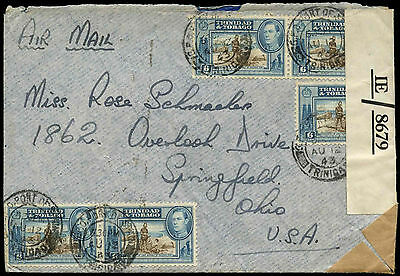 Trinidad & Tobago 1943 KGVI Opened By Examiner Censor Mail Cover #C17120