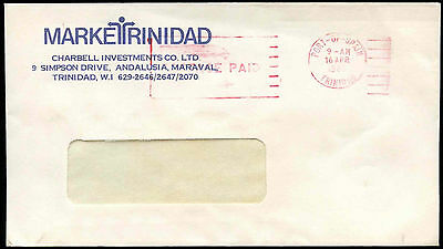 Trinidad & Tobago 1985 Port Of Spain Postage Paid Cover #C17102